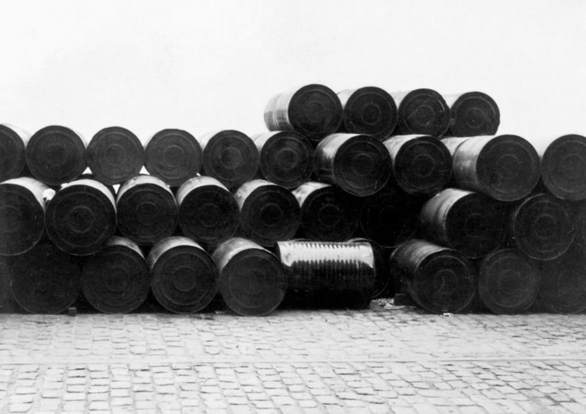 Stacked Oil Barrels, Cologne Harbour, 1961, by Christo