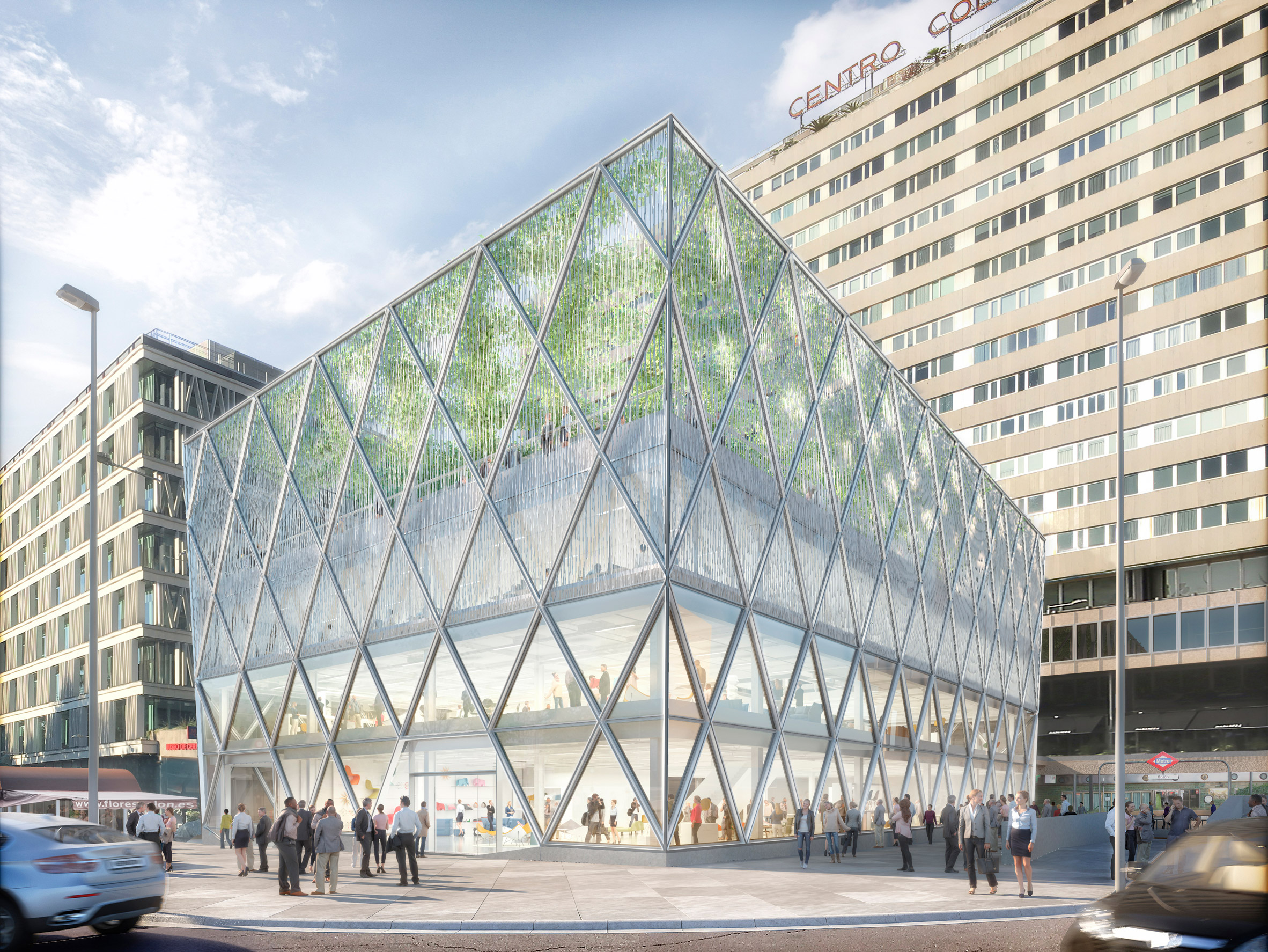 Foster + Partners unveils plans for Madrid office with diamond-shaped facade