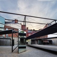 Dream The Combine installs elevated runway and pivoting mirrors at MoMA PS1 courtyard