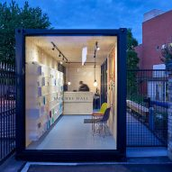 Shipping container converted into porters' lodge for Cambridge University college