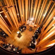 "Wooden ""forest"" forms an inner sanctuary inside Imaculada Chapel in Braga"