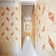 Crushed tiles used to create terrazzo details in Laia and Biel's House in Barcelona