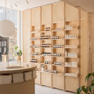 O'Sullivan Skoufoglou pairs wooden joinery with peach tones for RÖ Skin shop