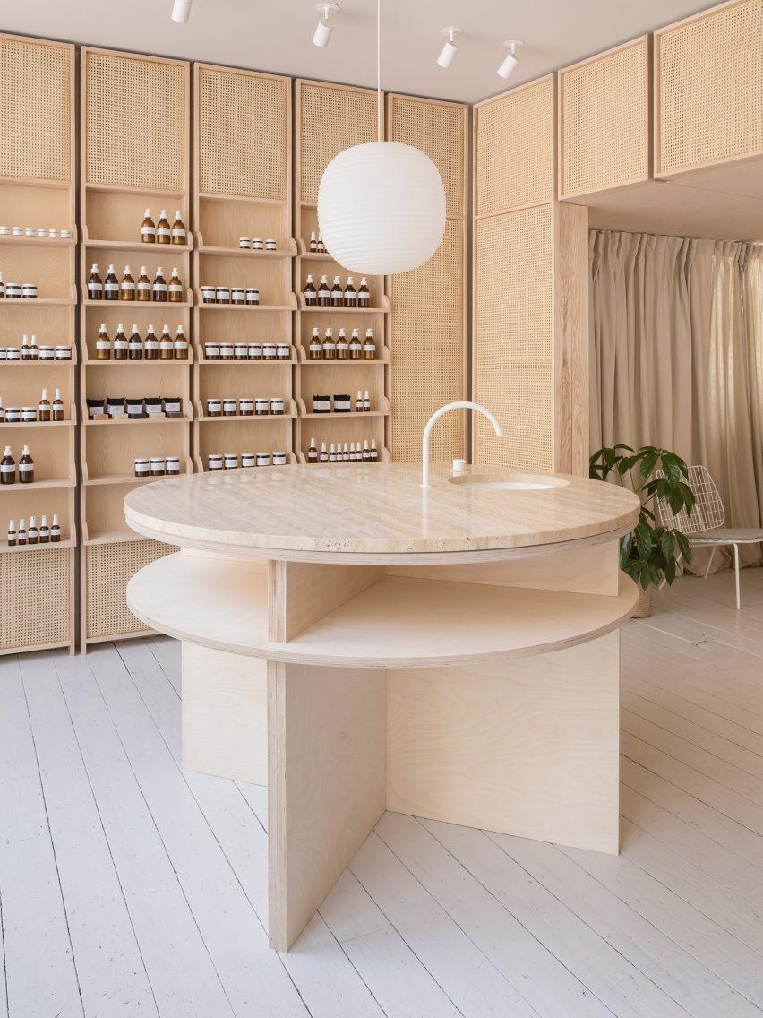 O'Sullivan Skoufoglou create peach-hued skincare store in England