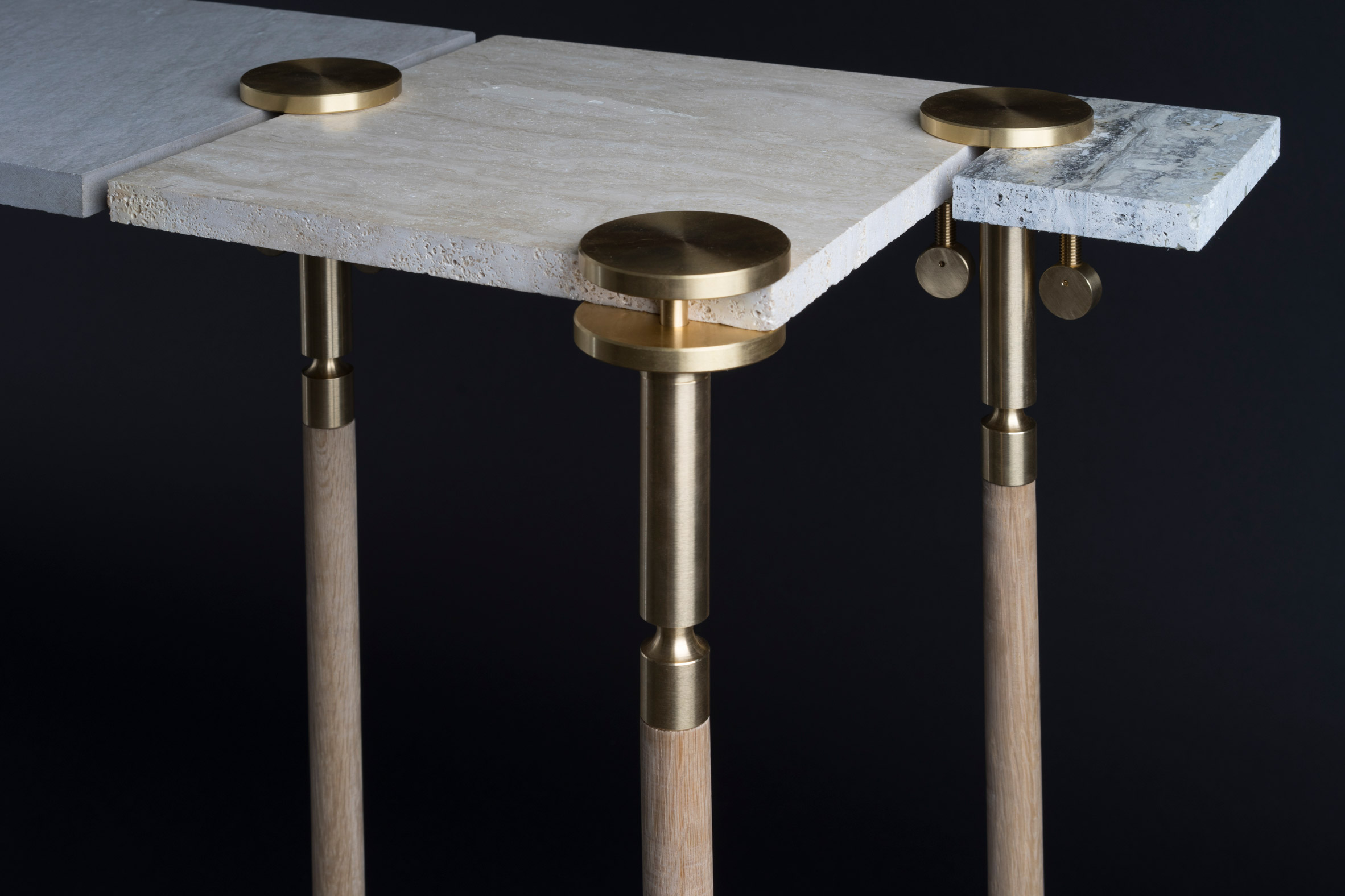 Josh Carmody makes tables using materials from a samples library