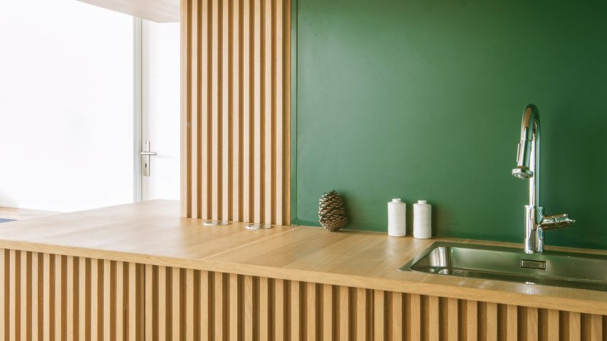 Atelier Sagitta Incorporates Emerald Green Kitchen Into Parisian Apartment