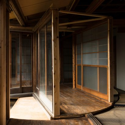 Japanese Atsuko Mochida cut a cylindrical volume out of a house in Japan and rebuilt it on a revolving platform mounted on wheels