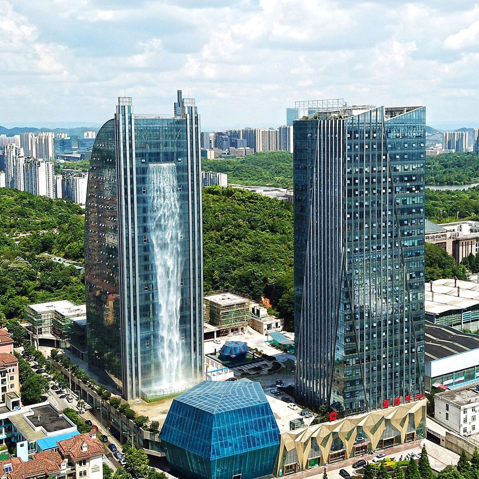 Waterfall architecture: Liebian International Building, China, by Ludi Industry Group
