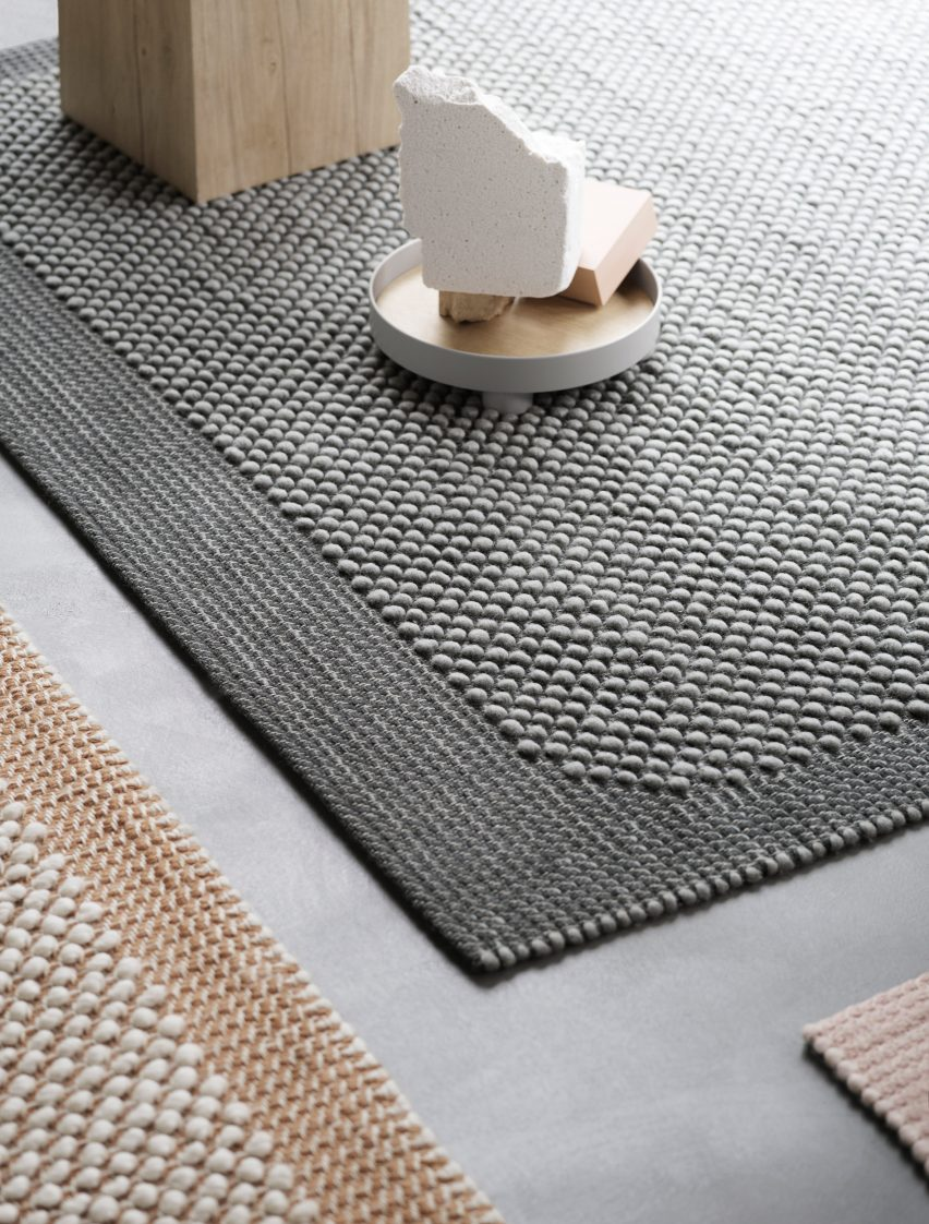 Muuto debuts bobbly rugs that feel like pebbles underfoot
