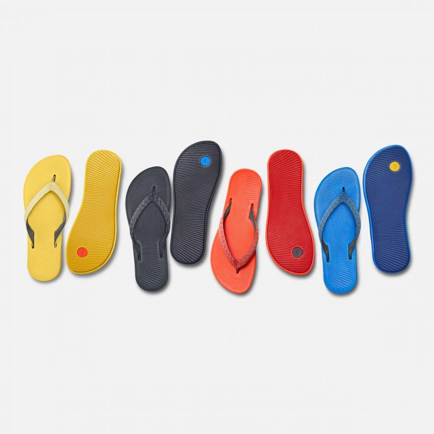 Flip flops with sugar cane soles from eco shoe brand Allbirds