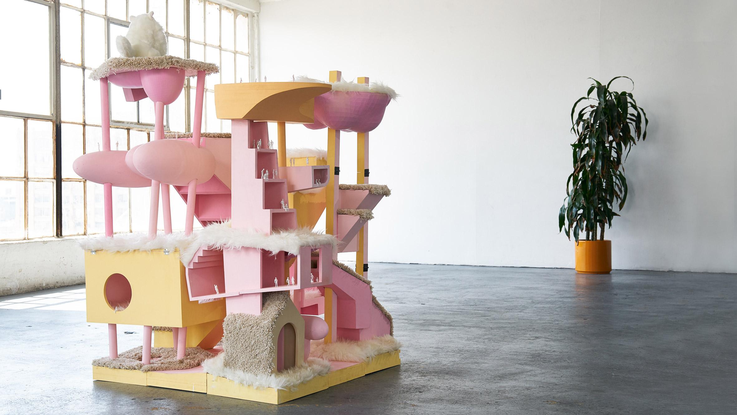 Bureau spectacular creates model high rise that doubles as a cat tower