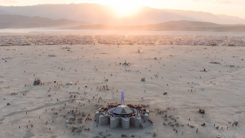 Aerial view of Burning Man festival 2018 at sunrise