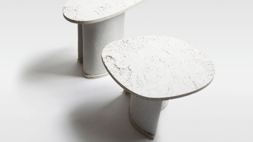 Charlotte Jonckheer makes side tables from recycled paper and stone dust