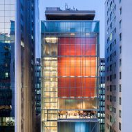 Red box houses galleries at Andrade Morettin's IMS Paulista in São Paulo
