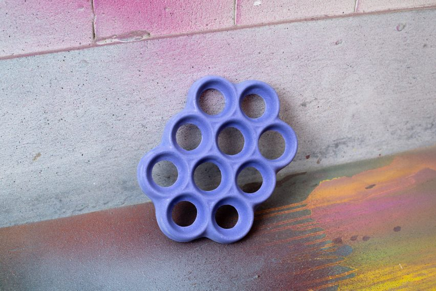 Conjoined Trivet in Blue Jesmonite by Scott Crawford