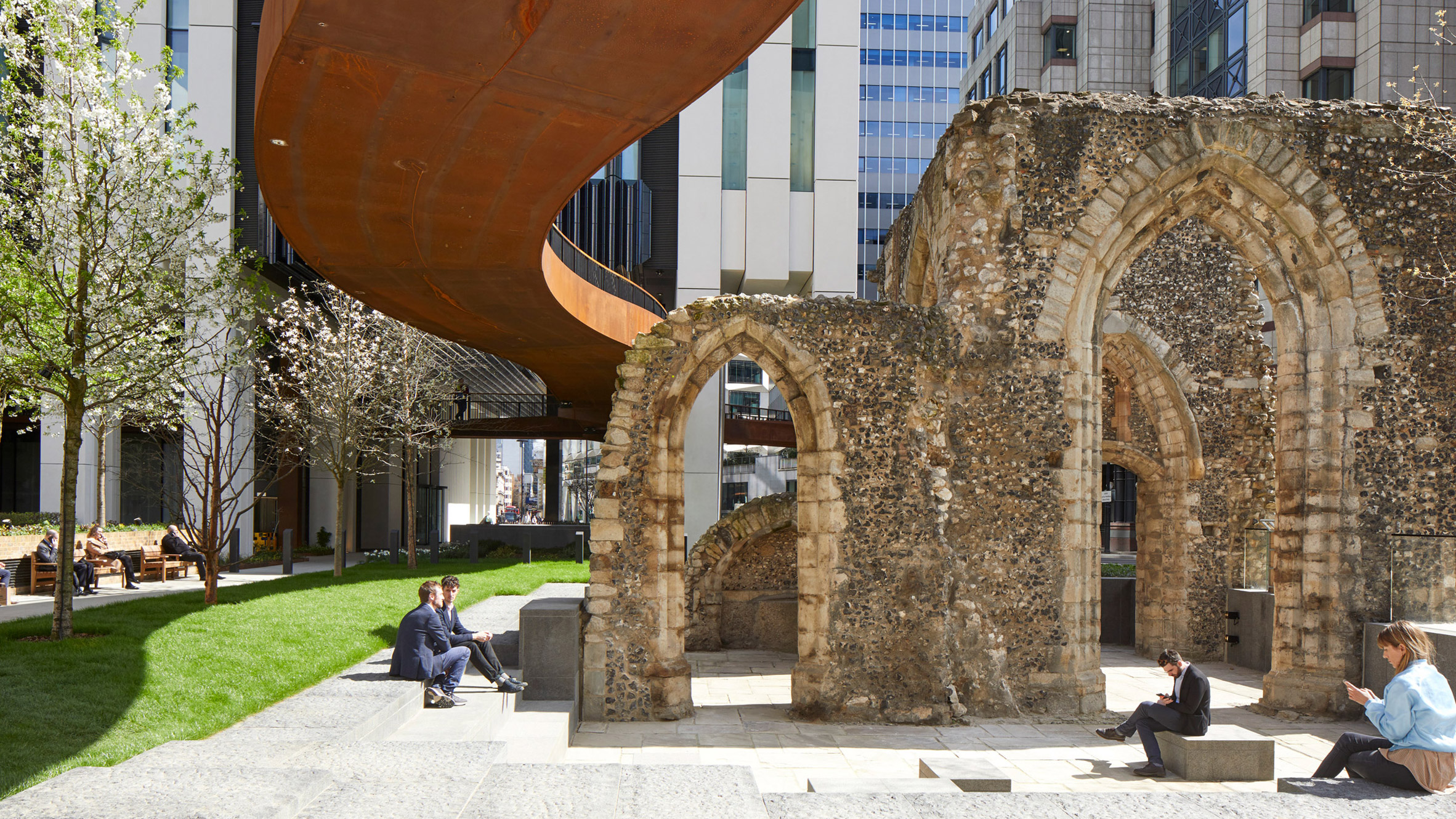 Make inserts public gardens between office towers at London Wall