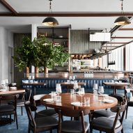 Sky-high Manhatta restaurant by Woods Bagot borrows colours from outside