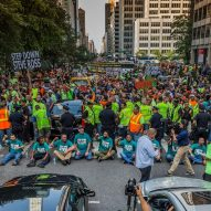 New York construction workers stage protest against Hudson Yards developer