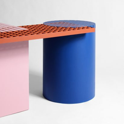 Urban Shapes by Nortstudio is a geometric bench that celebrates the materials of construction sites