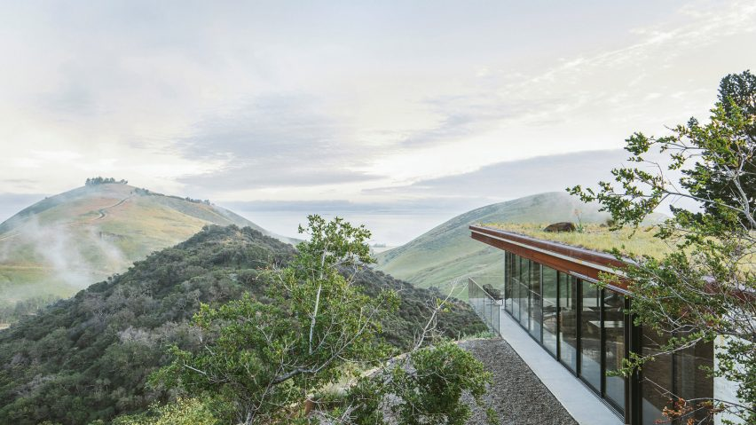 Off-Grid Guest House cantilevers over hillside with Pacific Ocean vistas