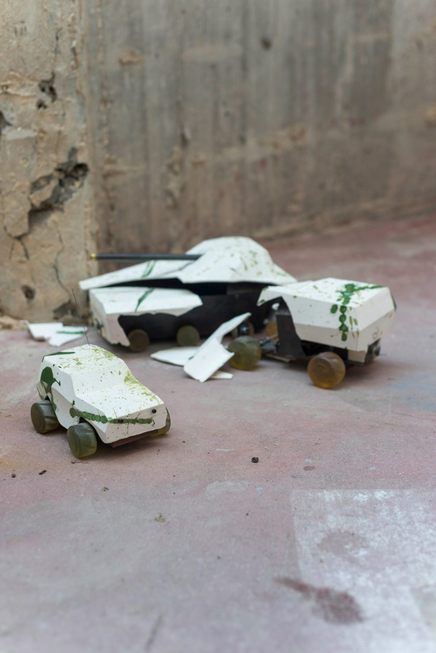 "Oz Biri's ceramic military vehicles symbolise the ""fragility of life"""