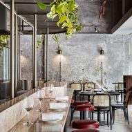 Pink marble and patchy concrete emulate ancient Rome in Melbourne's Pentolina pasta bar