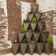 Prism Planters by The Principals stack up into arches and pyramids