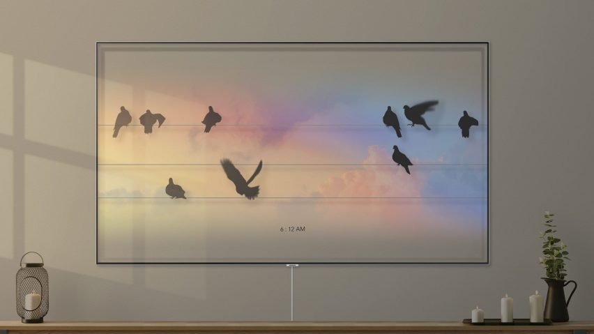 Bird Clock is on the longlist for the Dezeen x Samsung TV Ambient Mode design competition