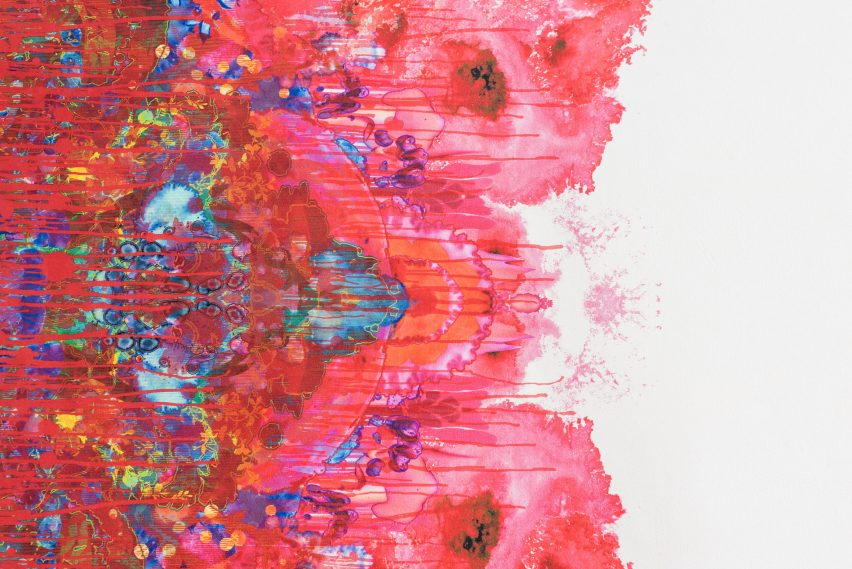 Graphic leather hide by Timorous Beasties features splatters and dribbles of colour