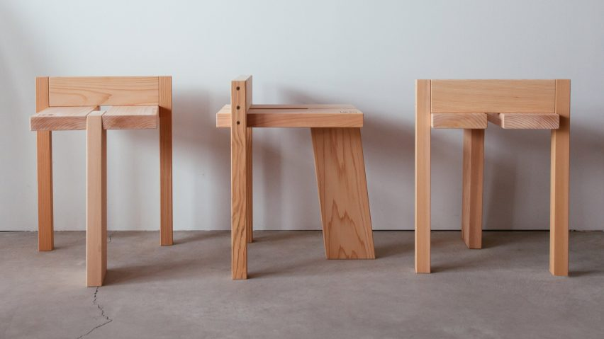 Studio Adjective devises easy-to-assemble stool for Ishinomaki Laboratory