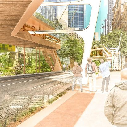 Bridging Affordable Housing is a proposal by Nika Solutions to construct elevated rows of affordable housing on bridges above Sydney's streets