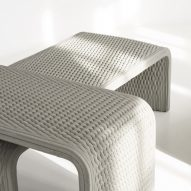Collection of benches woven in 3D-printed concrete