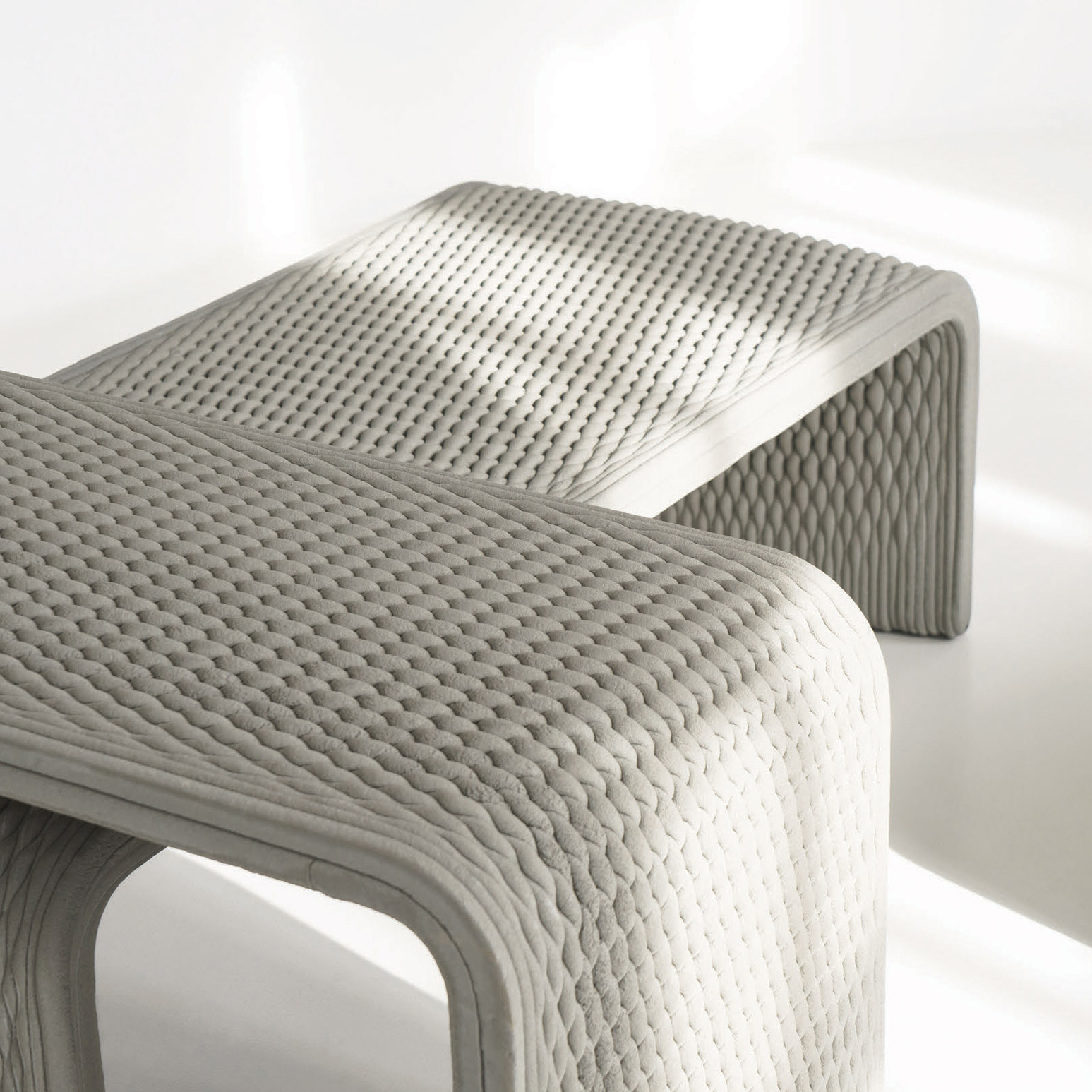 Admirable Collection Of Benches Woven In 3D Printed Concrete Ibusinesslaw Wood Chair Design Ideas Ibusinesslaworg