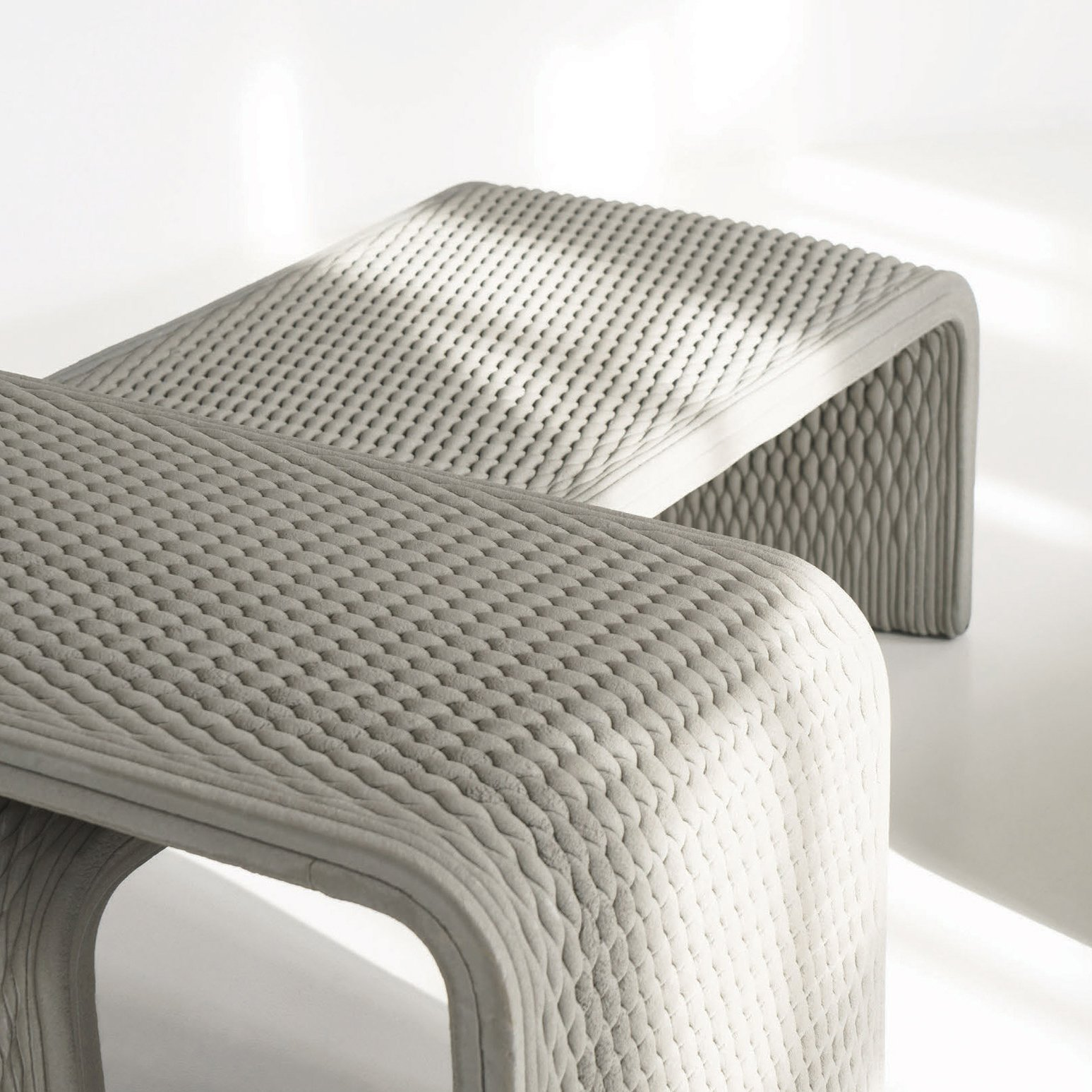 Collection Of Benches Woven In 3d Printed Concrete
