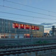 Zeppelin Station market and offices by Dynia Architects overlooks rail tracks in Denver