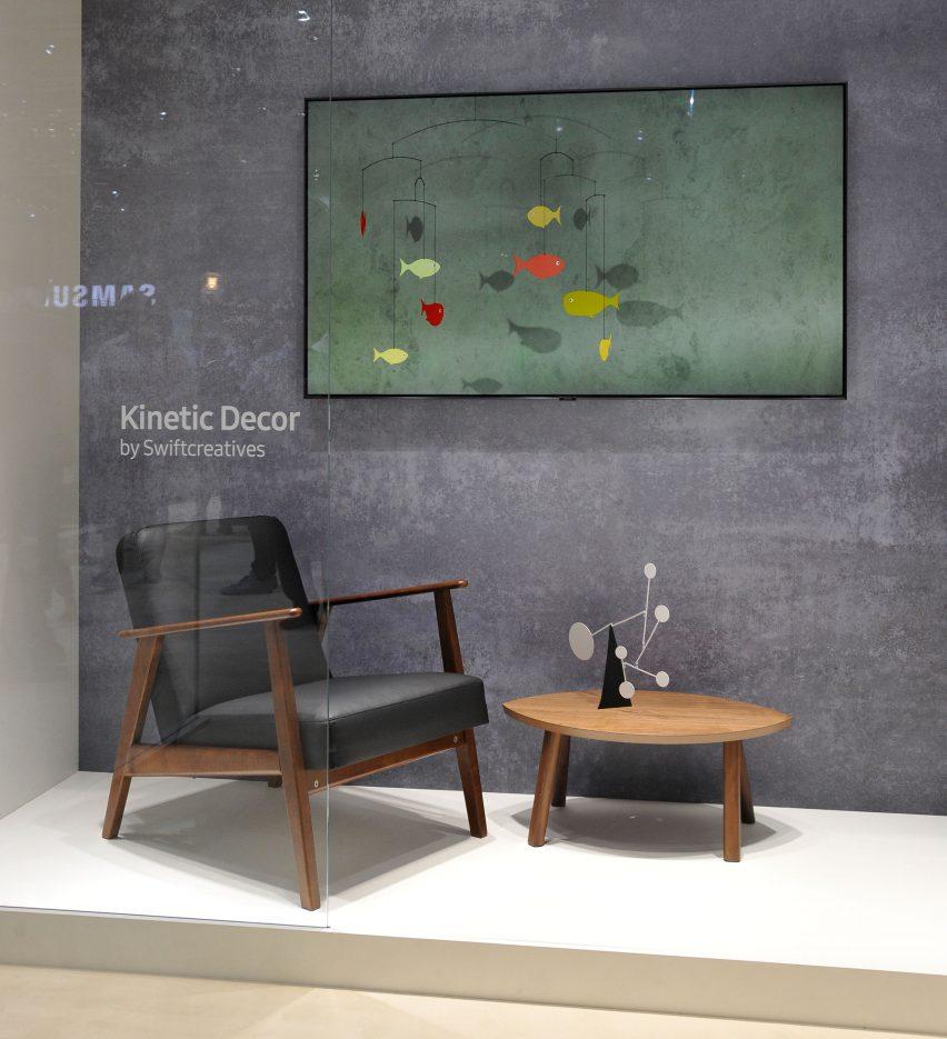 Lista corta de la competencia de diseño de Dezeen x Samsung Ambient Mode en exposición en IFA 2018