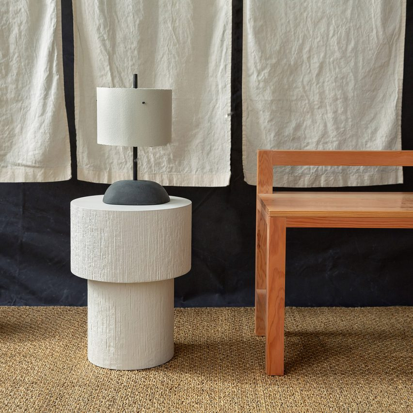 Malgorzata Bany installs jesmonite furniture at The New Craftsmen for LDF exhibition