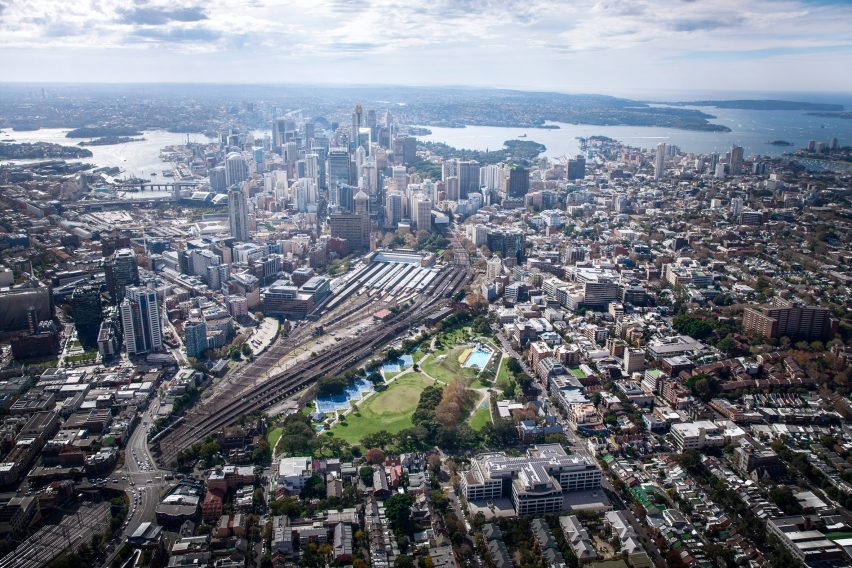 Bates Smart proposes suspending stadium above Sydney's Central Station