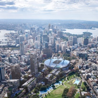 Bates Smart proposes suspending stadium above Sydney's Central Station