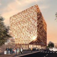 Construction of golden cube building by Stefano Boeri Architetti begins in Tirana
