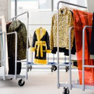 Warehouse equipment displays garments at Browns Fashion pop-up in LA