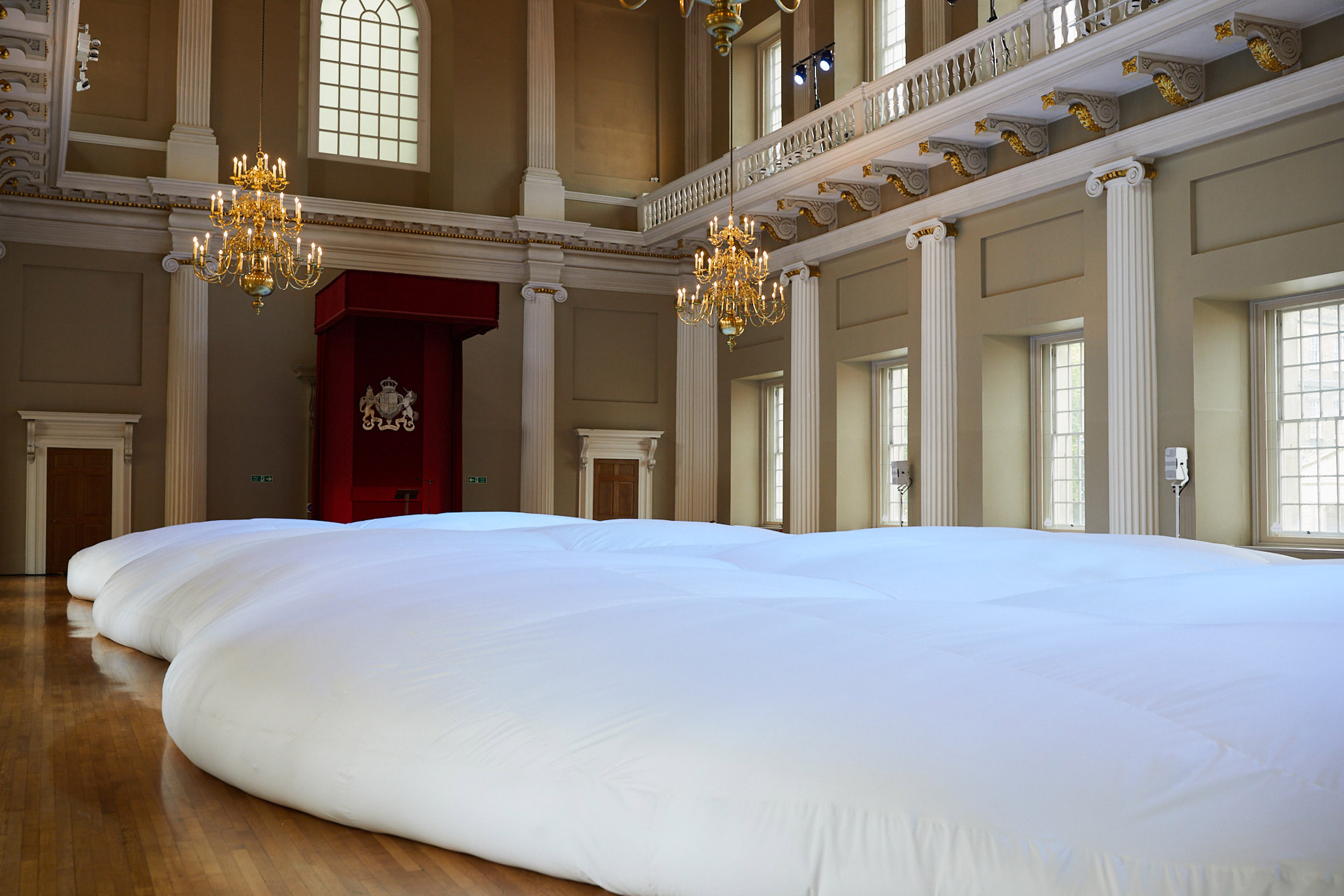 "Anya Hindmarch installs ""world's biggest beanbag"" in London's Banqueting House"