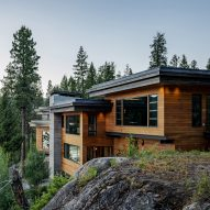 Cliff House in Idaho steps down a granite slope to a lake