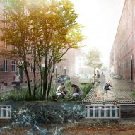 Anti-flood greenery-boosting Climate Tile installed in Copenhagen street