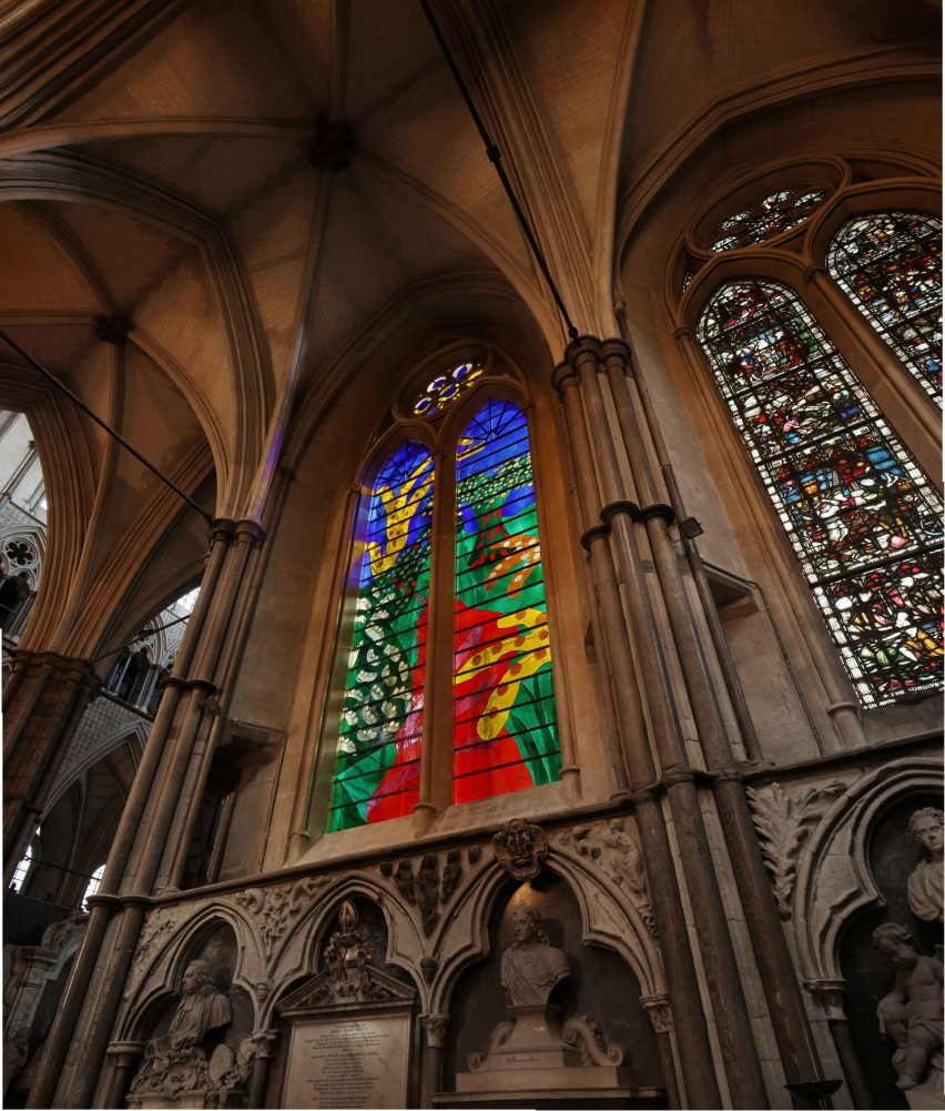 David Hockney reveals iPad-designed stained-glass window in Westminster Abbey