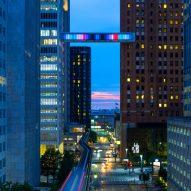 Phillip K Smith III's Detroit Skybridge glows with blocks of colour