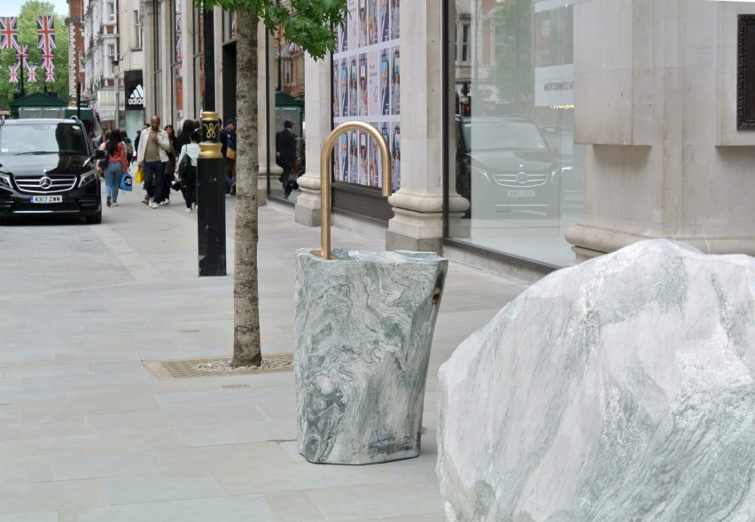 Monolithic street furniture for London's Selfridges by Djao-Rakitine