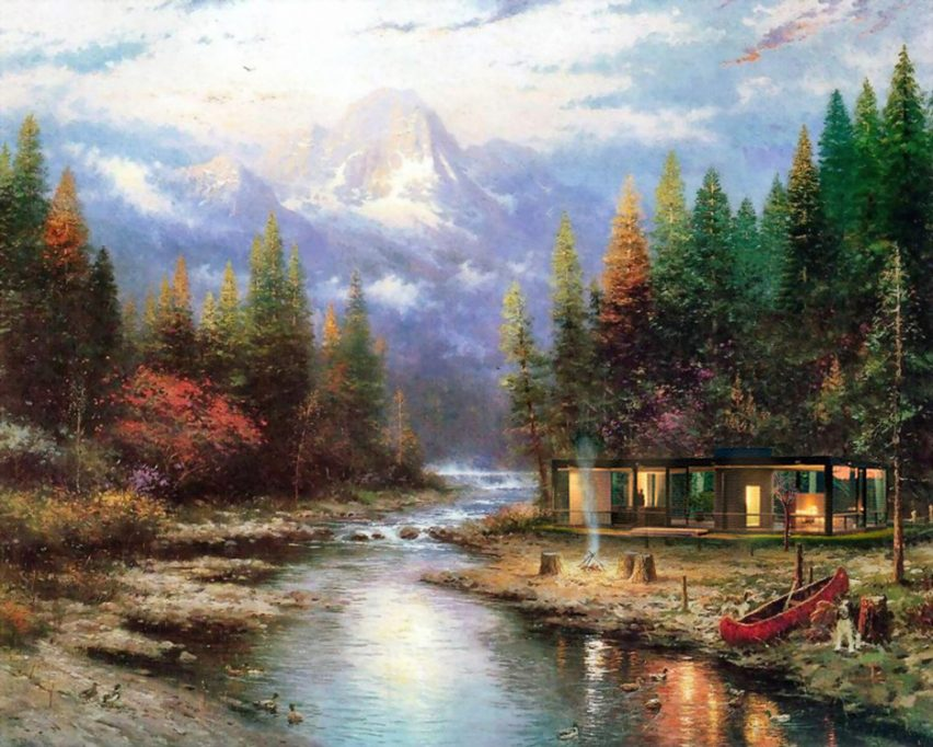 Glass House in the style of Thomas Kinkade by Robyniko