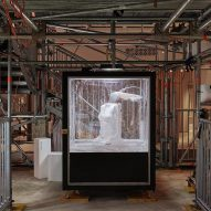 Robot produces polystyrene sculptures inside Burberry's London store