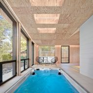 Framestudio uses cedar and plywood for Los Altos Poolhouse in northern California
